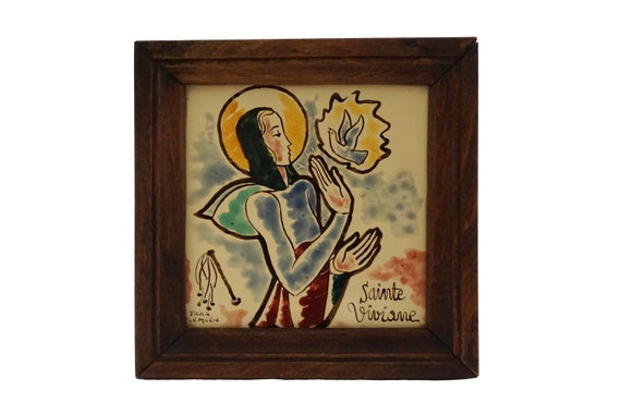 Saint Vivian Portrait Wall Hanging, Hand Painted French Pottery Tile