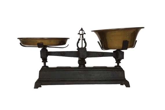 Antique Cast Iron Scales with Brass Pans, French Market Scale Balance