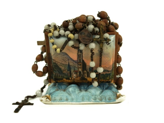 Antique French Porcelain Rosary Purse, Lourdes Rosary Basilica Souvenir, Religious Jewelry Holder