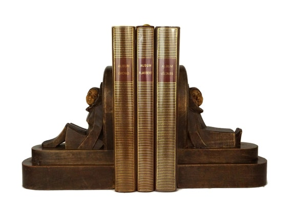 Antique French Pierrot and Columbine Bookends, Carved Art Deco Wood Figurines, Book Shelf Decor