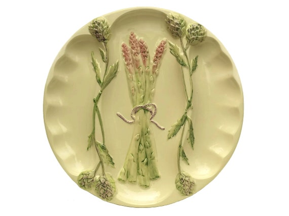 Vintage Asparagus and Artichoke Plate, Italian Pottery Wall Plate Stamped FG