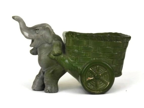 Antique German Elephant with Cart Figurine, Jewelry Holder, Collectible Porcelain Fairing Figure