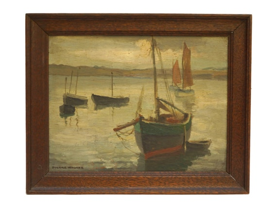 Pierre Wagner Seascape and Boat Painting, French Coastal Art
