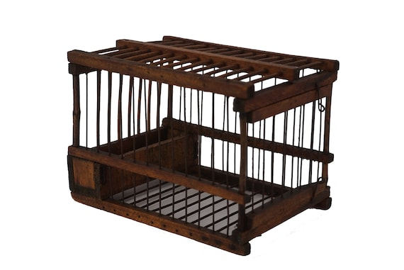 Antique French Wood and Wire Birdcage, Rustic Bird Cage and Garden Decor