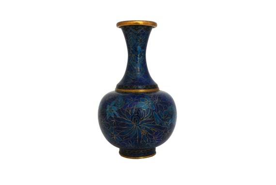 Cloisonne Vase with Flowers, Blue Chrysanthemum Enamel and Brass Chinese Home Decor