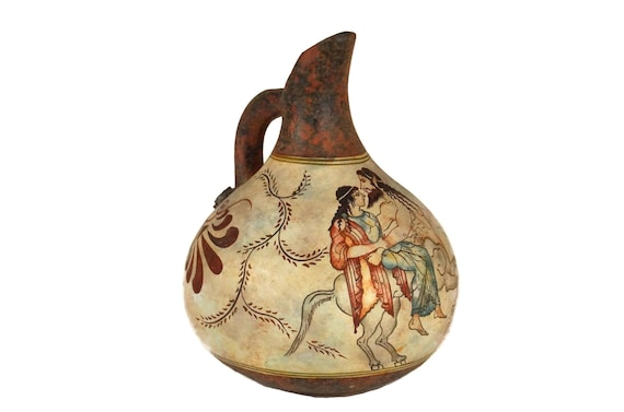Greek Pottery Wine Jug with Centaur Figure, Hand Painted Ceramic Pitcher Souvenir