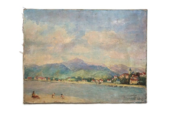 Beach and Mountain Painting, French Impressionist  Coastal Landscape and Village Art