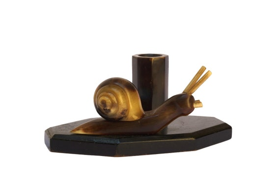 Art Deco Snail Wooden Figurine, Vintage French Escargot Cocktail Pick Holder
