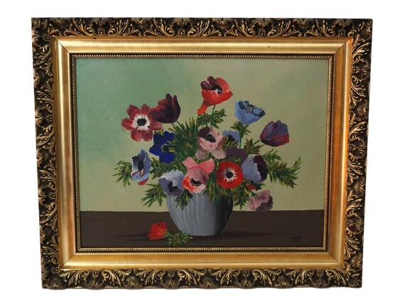 Poppies and Tulips Still Life Painting, French Country Floral Art