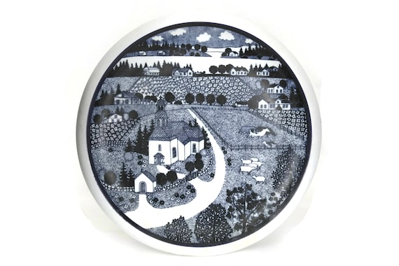 Arabia Wärtsilä Finland annual plate, 100 Year Commemorative Art Plate, Vintage Finnish Anniversary plate, Countryside Farmland Decor