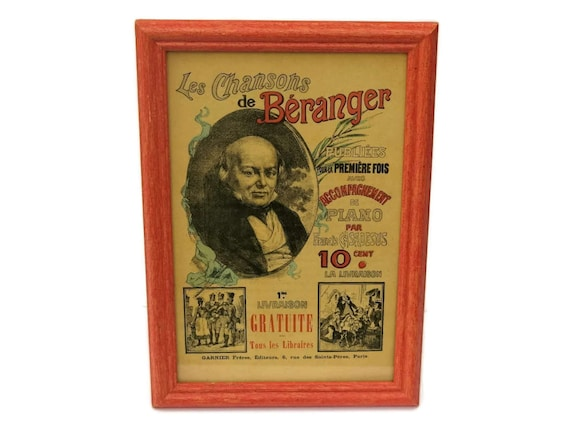 19th Century Framed Music Sheet Cover of Songs by Pierre-Jean de Béranger.