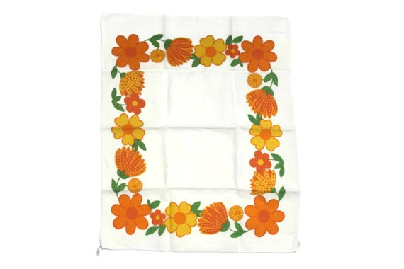 Vintage French Linen Tea Towels,  1970s Daisy Flower Printed Dish Cloth, Retro Orange Kitchen Decor