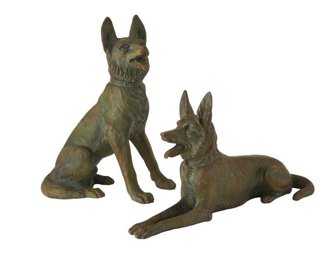 Art Deco German Shepherd Dog Sculptures, Pair of Cast Metal Alsatians Statues