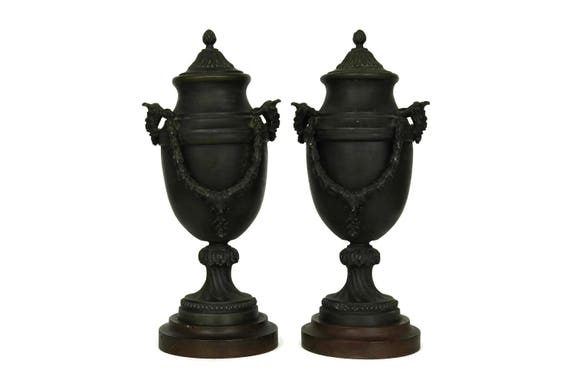 Antique French Cassolettes. Mantel Garniture Urns with Mythological Bacchus Portrait. Chateau Home Decor.