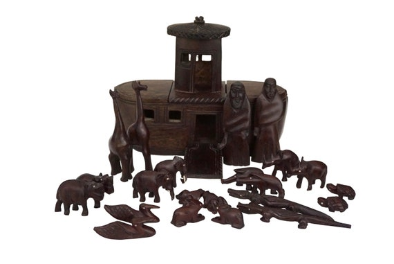 Carved Wood Noah Ark with Animals, Vintage African Folk Art Figurine Set