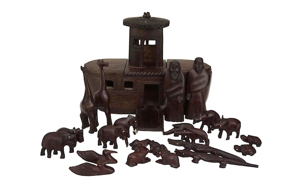 Carved Wood Noahs Ark with Animals, Vintage African Folk Art Figurine Set