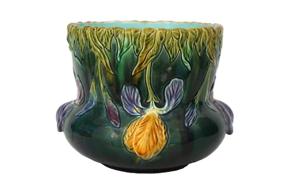 Antique Majolica Planter with Iris Flowers by St Clement, French Ceramic Pot Plant Holder