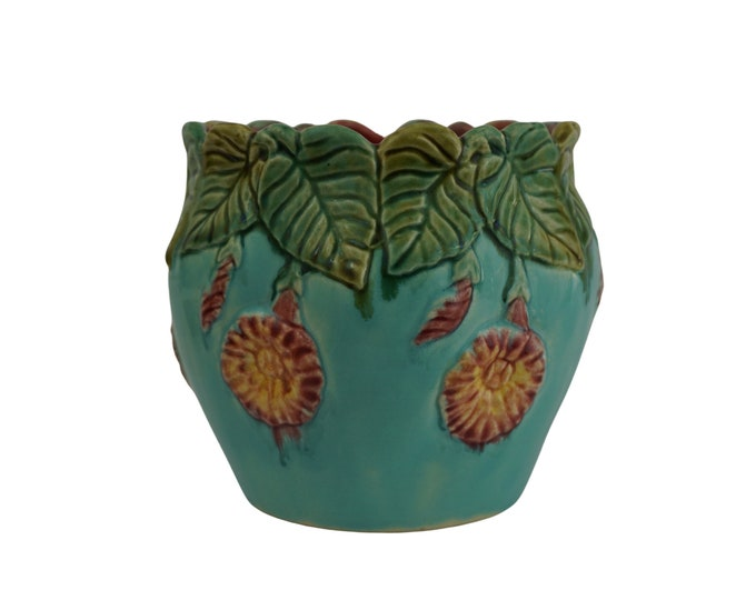 Small Majolica Cache Pot with Trumpet Flowers, French Antique Ceramic Jardiniere Planter