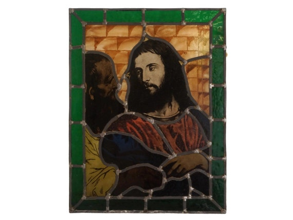 Antique Religious Stained Glass Panel, Jesus and Judas Portrait, Leaded Art Glass Portrait, The Tribute Money