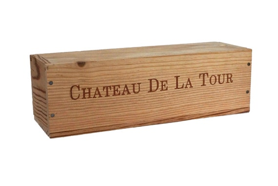 Vintage French Wine Bottle Box, Chateau De La Tour Wooden Crate