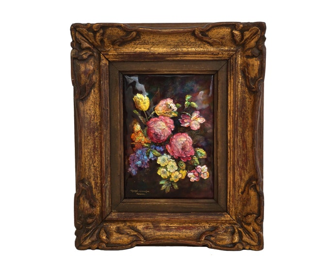 Hand Painted French Limoges Enamel Wall Art with Flowers by Camille Faure, Framed Rose Still Life