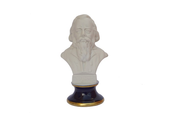 Johannes Brahms Head Bust Statue, French Porcelain Classical Music Composer Gift and Decor
