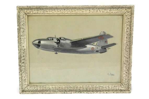 French Vintage Airplane Painting. Gouache on Paper. Gift for Him.