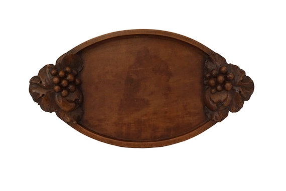 Carved Wood Tray with Grape Vine Leaf, Antique French Serving Platter