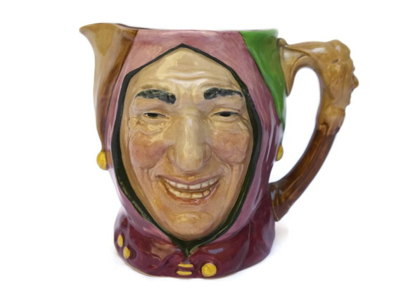 Royal Doulton Character Jug of Touchstone Court Jester, Vintage Toby Jug Majolica Face Pitcher