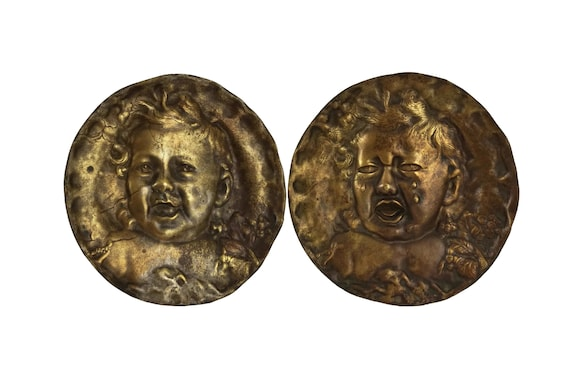 Laughing and Crying Baby Portrait Wall Plates, French Antique Bronze Plaques