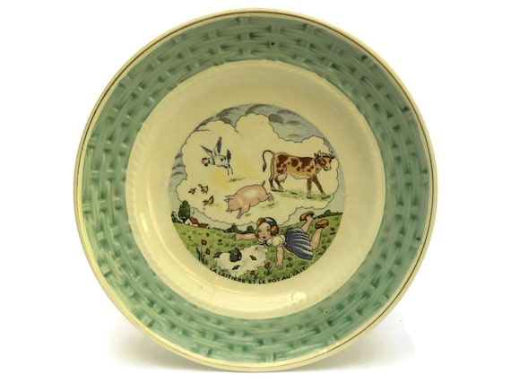 The Milk Maid and Milk Pail La Fontaine Fables Wall Plate. Vintage French Faience Plate. Nursery Decor.
