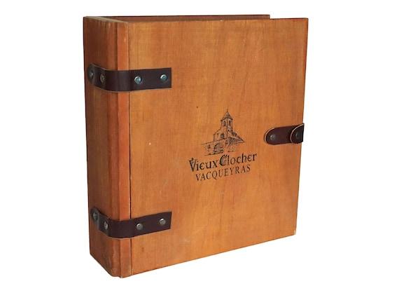 Vintage French Wine Bottle Box, Wooden Secret Book Safe
