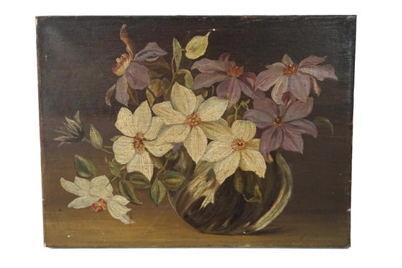 Antique Flowers in Vase Painting, French Floral Still Life Painting Art