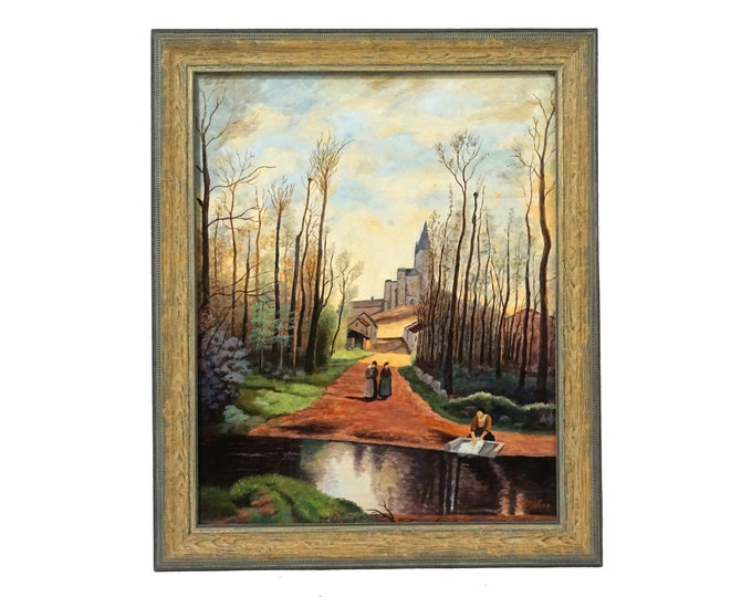 Laundry Washerwoman and River Painting, French Country Landscape Art