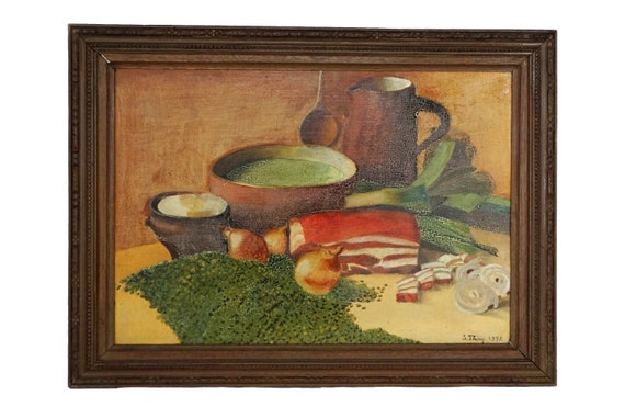 French Kitchen Still Life Art with Pea and Ham Soup and French Pottery, Food Painting