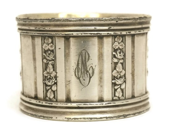 French M C Monogram Silver Plate Napkin Ring.