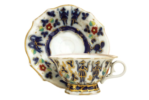 Antique Austrian Porcelain Teacup, Hand Painted Blue and Gold China Cup and Saucer Set