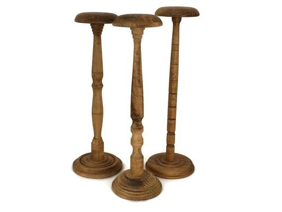 French Vintage Hat Display Stands Set of 3, Vintage Wood Hat Stand