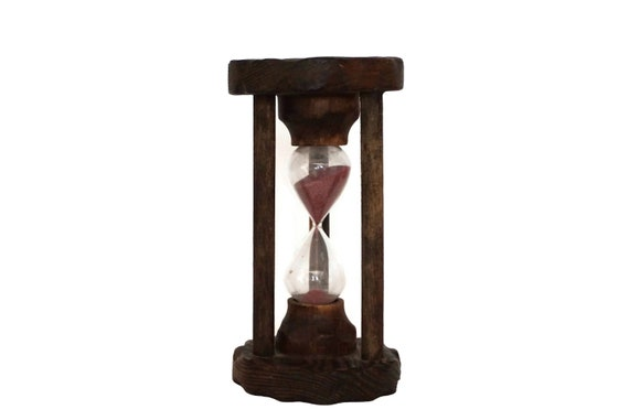 Large Sand Hourglass Timer in Wood Stand, 3 Minute Glass Egg Timer