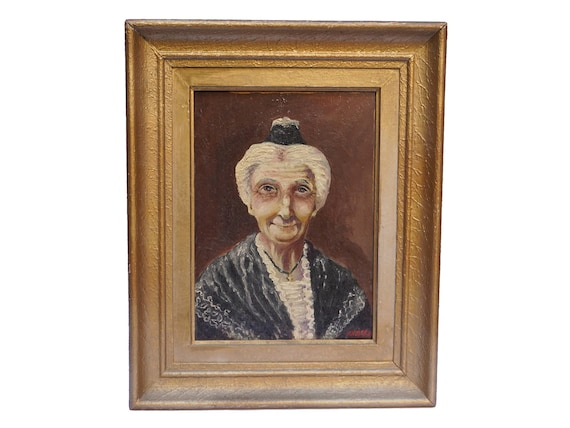 Old French Woman Portrait Painting, Arlesienne Lady Original Framed and Signed Art, Provence Home Decor