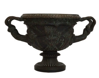 Antique Bronze Warwick Vase with Bacchus, 19th Century French Grand Tour Urn