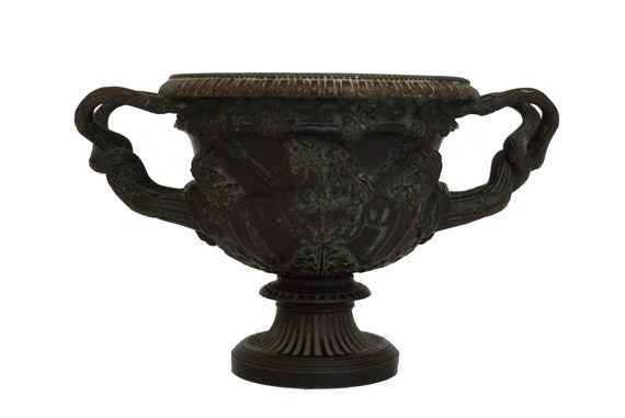 RESERVED for Andrew. Antique Bronze Warwick Vase with Bacchus, 19th Century French Grand Tour Urn