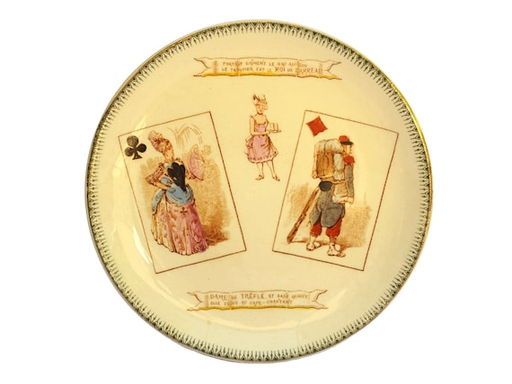 Antique Choisy Le Roi Ceramic Plate with Playing Cards, Queen of Clubs and King of Diamonds, French Faience Wall Plate