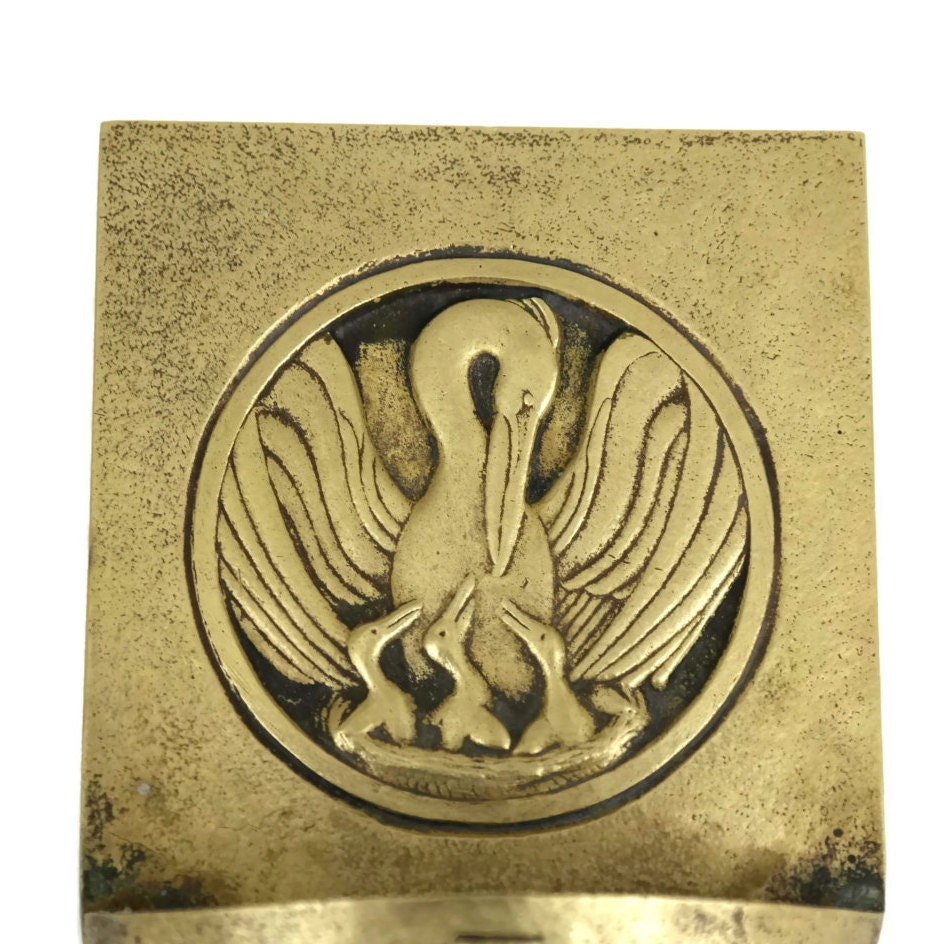RESERVED for Ryan. Art Deco Brass Holy Water Font with Stork and ...