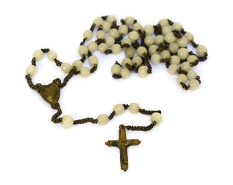 Catholic Rosary with White Beads and Brass Crucifix.Antique French Rosary Beads.