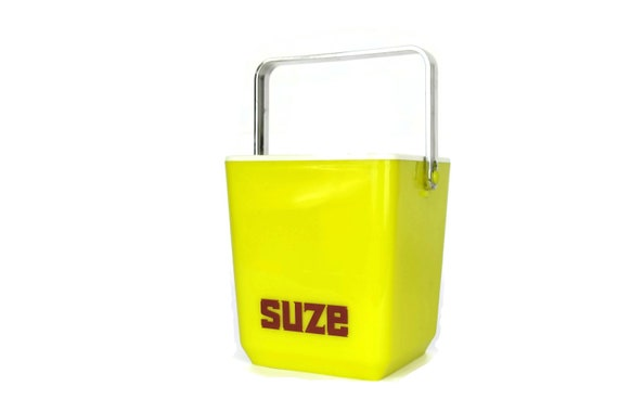 Vintage French Suze Advertising Ice Bucket, Yellow Plastic Barware Decor, Gifts For Him
