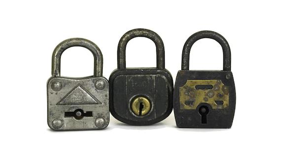 French Antique Lock and Key, Set of 3 Old Padlocks
