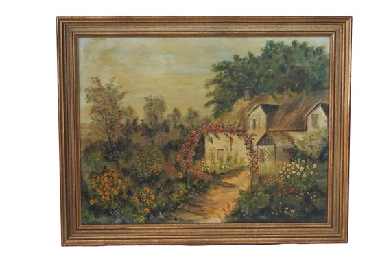 French Country Cottage Painting with Rose Flower Garden,  Framed Original Signed Art