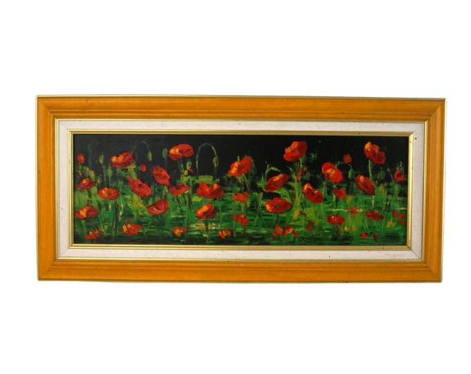 French Poppy Flowers Oil Painting, Vintage Country Art with Wild Field Blossoms