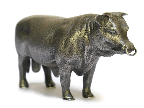 Vintage Sterling Silver Bull Sculpture, Wakely & Wheeler Animal Figurine